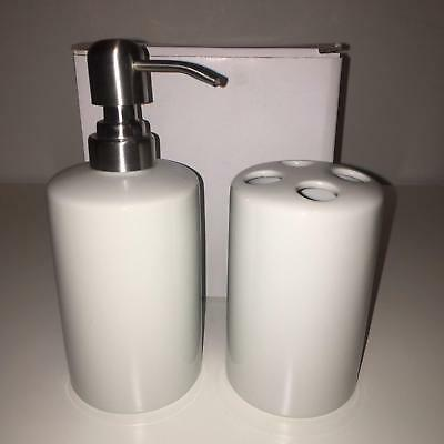 Lot of 17 Sublimation White Ceramic Blank Bath Sets Soap Dispenser & Toothbrush