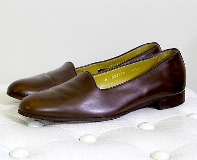 Polo sz 10.5D Brown Calf Leather Loafers Made in Italy Slip On Slipper
