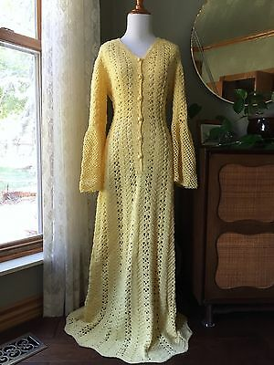 Vintage Crochet Dress Hand Knit Yellow Dress Bell Sleeves Boho Hippie 60s 70s