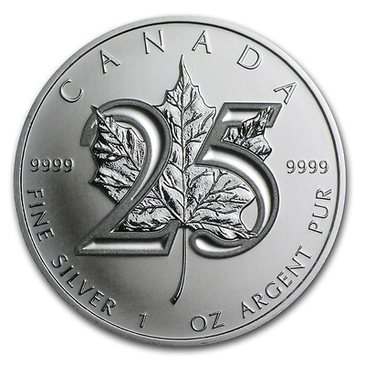 25th Anniversary SILVER Canadian Maple Leaf 2013