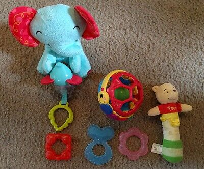 Lot 6pc Rattle Teether Baby Infant Toys Nuby Fisher Price Baby Einstein Pooh lot