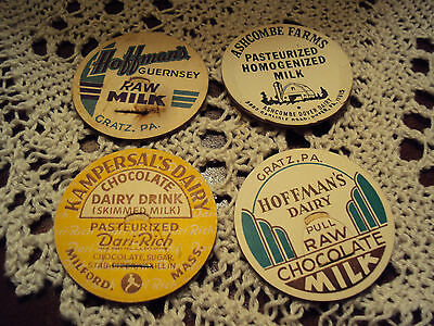 Lot of (4) Different VINTAGE DAIRY MILK BOTTLE CAP LOT PA PENNSYLVANIA MA MASS