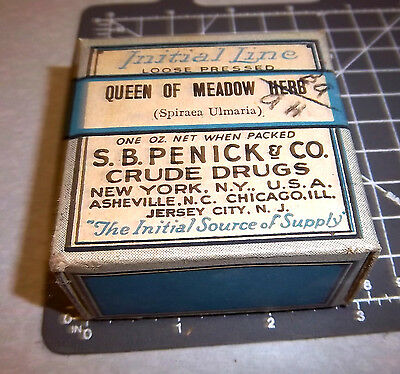 Vintage SB Penick co, Queen of Meadow Herb, 1900s Pharmacy New unopened box NOS