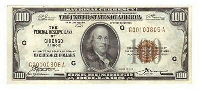 1929 National Federal Reserve Brown Seal Chicago $100 Currency Note! USC344