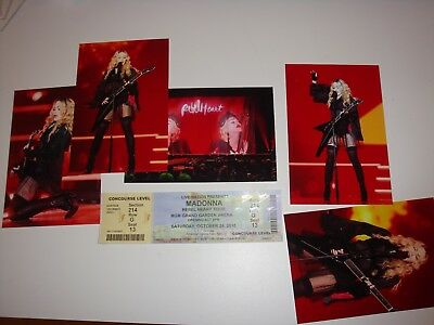 MADONNA Original Rebel Heart Concert TICKET With 5 Photos MGM Las Vegas USA