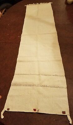 Antique Homespun Loomed Linen Hand Embroidered Initial P Hanging Loops vintage