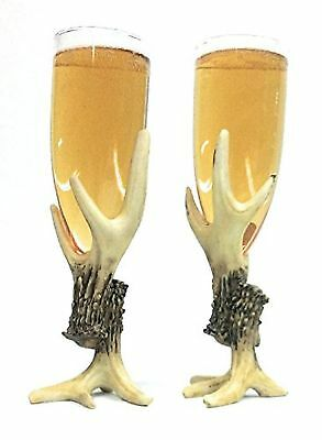 Unique Rustic Antler Wine Champagne Glasses (set of 2). Fun and whimsical for...