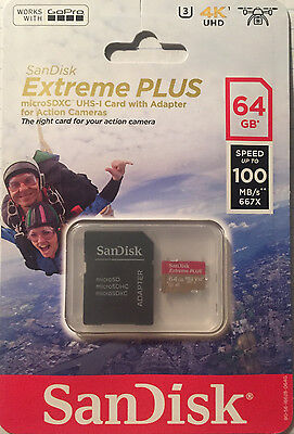 SanDisk Extreme Plus 64GB, 100MB/s microSDXC UHS-1 Card with Adapter