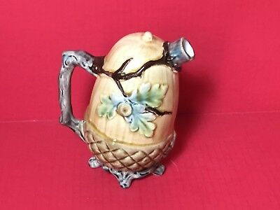 Beautiful Unique Antique Ceramic Acorn Leaning Jug