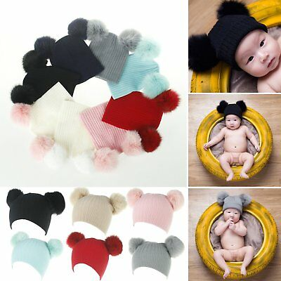 Double Ball Child Kids Toddler Winter Beanie Hat Cap Wool Knit Fashion Fur Pom