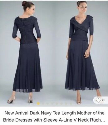 Mother Of The Bride Groom Dress Navy Tea Length Size 18w 3/4 Sleeve Never Worn
