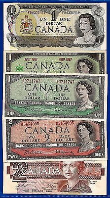 CANADA Canadian one 1 and 2 two DOLLAR BILLS NOTES EF-UNC