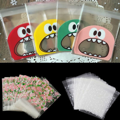 100Pcs Self Adhesive Cookie Candy Package Gift Bags Cellophane Party Birthday