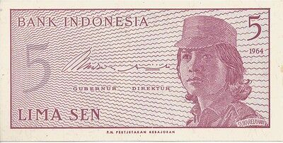5 Lima Sen Bank of Indonesia Note 1964