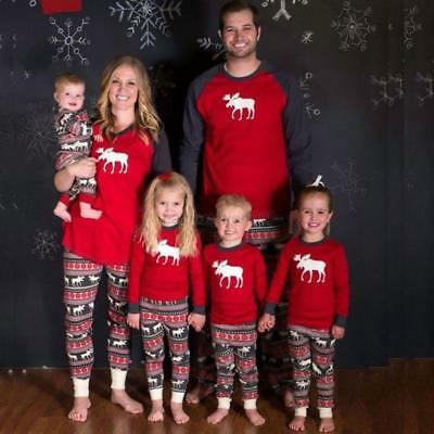 Christmas Family Matching Pajamas Set Deer Adult Mum Dad Kid Sleepwear Nightwear