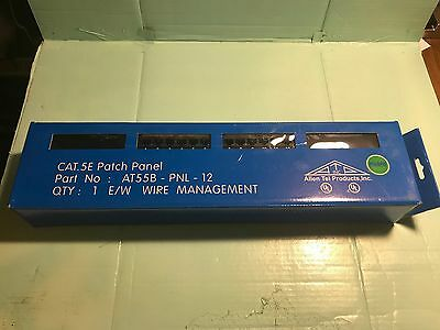 NEW / Rack Mount Patch Panel / Allen Tel Products AT55B-PNL-12 12 Ports Cat 5E