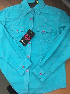WRANGLER ROCK 47 Girls Turquiose Long Sleeve Shirt