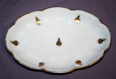 """Limoges White & GOLD Bees Vanity Dish Bowl Tray """"CHAMART"""" France RARE VINTAGE"""