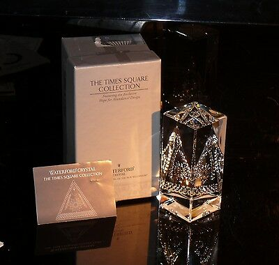 Waterford Ireland Crystal Times Sq Prism With Box And Leaflet Amazing !