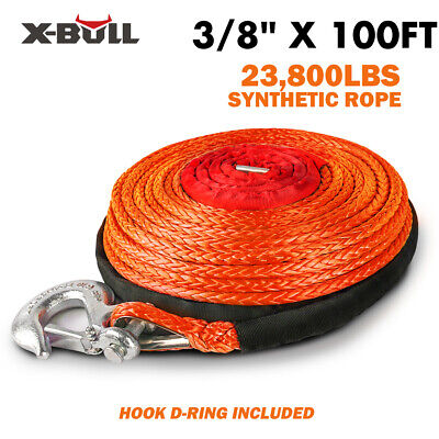 """X-BULL 2/5""""x100ft Orange Synthetic Winch Rope Line Recovery Cable 23000LBS 4WD"""