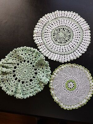 3 x vintage green and white crochet doilies