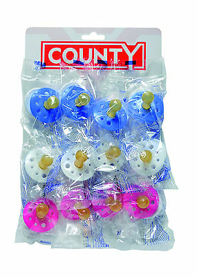12 x County baby soothers, pacifiers, dummies - 1 card - 12 on a card