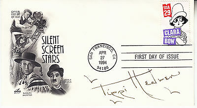 TIPPI HEDREN hand signed 1994 FDC first day cover autographed  Valentino Chaplin