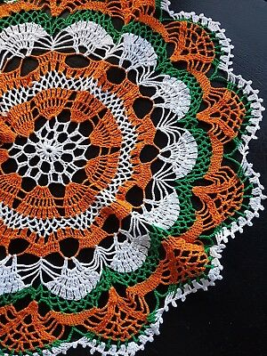 Vintage orange green and white round large crochet doily