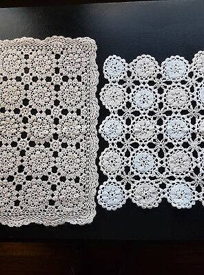2 x vintage ecru and white doilies