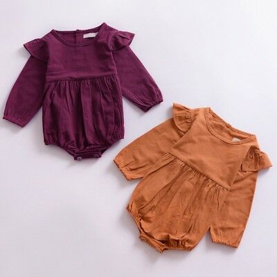 AU Infant Newborn Baby Girl Cotton Long Sleeve Bodysuit Romper Jumpsuit Clothes