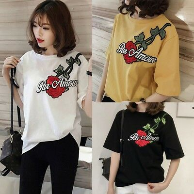 AU Summer Women Casual Loose Short Sleeve Rose Embroidery T-shirt Tops Blouse