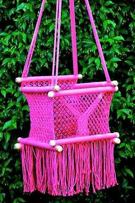 Baby/Kids Handmade soft Cotton Macrame Swing  Hot Pink - Fairtrade