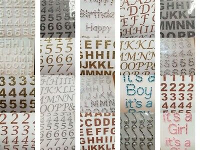 Diamante Gem Stickers 60 Options  Craft Numbers Letters Hearts Self Adhesive