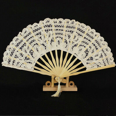 New Vintage Handmade Cotton Parasol Lace Hand Fan Bridal Wedding Party