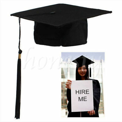 Adults Graduation Hat Cap Student Graduate Dress Accessory Mortar Board Black