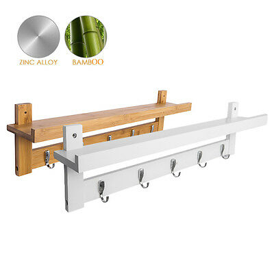 Wall Mounted Coat Clothes Hat Book Storage Display Shelf Rack Floating With Hook