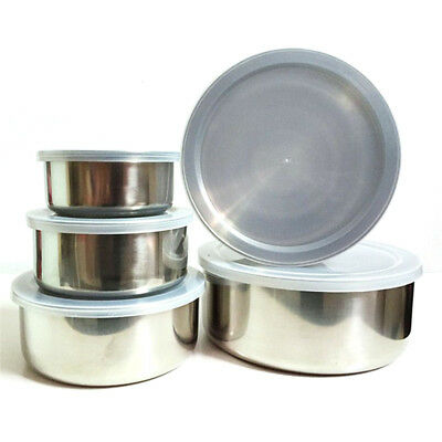 5pcs/set Stainless Steel Bowl Set with Plastic Lids Food Storage Containers Tool