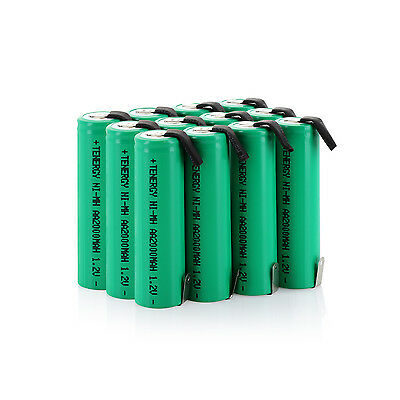 Tenergy 12pcs AA 1.2V 2000mAh NiMH Rechargeable Batteries Cell Flat Top w/ Tabs