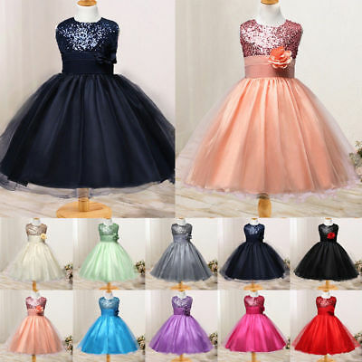 Baby Girls Kids Sequined Wedding Pageant Formal Party Princess Flower Prom Dress