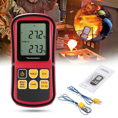 GM1312 2CH Digital Thermometer Dual Channel LCD Display Temperature Meter Tester
