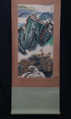 Large Rare Fine Chinese Scroll Hand Painting Landscape Marked HeHaiXia PP649