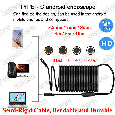 Rigid Cable Waterproof USB Endoscope Borescope Snake 1080P Camera 6 LED Video