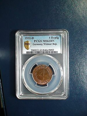 1932 D Germany Four Reichsfennig PCGS MS63 BN 4RP Coin PRICED TO SELL NOW!