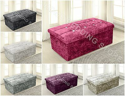 Large Ottoman Crushed Velvet Sparkle Storage Box Foot Stool Folding Pouffe Chest