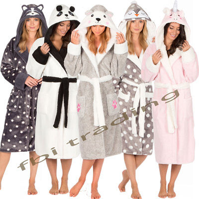 Ladies Womens Fleece Dressing Gown Soft Robe Animal Hooded Cosy Luxury Warm
