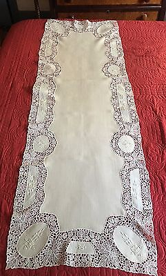 Beautiful Off White Embroidered Linen Table Runner Trimmed With Schiffli Lace