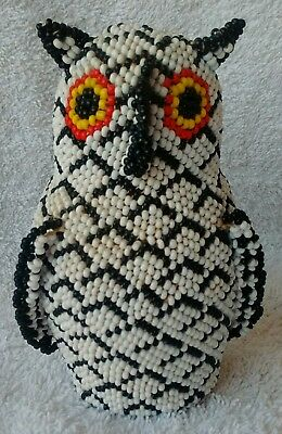 Beaded Owl by Adelita Sanchez Zuni Pottery Owl That Has Been Covered With Beads