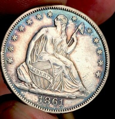1861 Seated Liberty 1/2 Dollar PROOF WAS In Circulation!!!!!