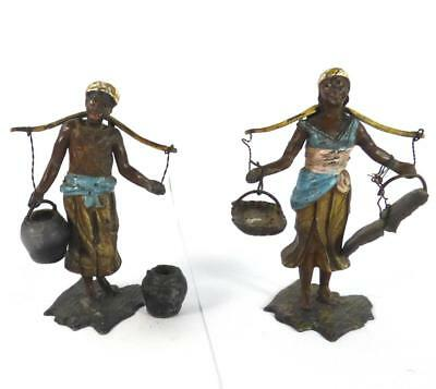 Pair Antique 19Th Century Cold Painted Spelter Blackamoor Figures