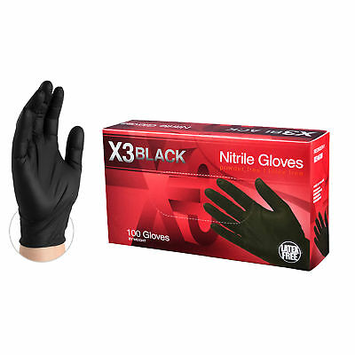 AMMEX BX3 Black Nitrile Industrial Disposable Gloves, Box, 100 count